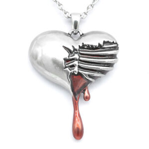 Controse-Women-039-s-Silver-Toned-Stainless-Steel-Bleeding-Heart-Necklace-17