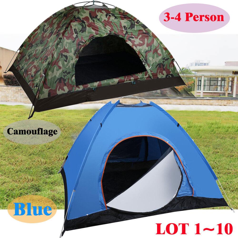 Camping Waterproof Outdoor 3-4 Person 4 Season Folding Tent Hiking Camo bluee LOT