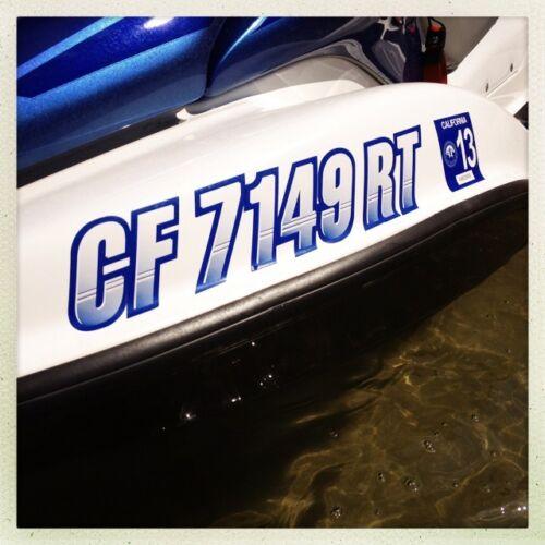 STIFFIE Techtron TT69 Boat PWC Letter Number Decal Registration BLACK CHROME