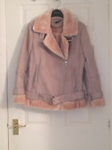 cute cheap official shop really cheap Details about TOPSHOP PINK BELTET SHEARLING AVIATOR BIKER JACKET COAT RRP  £79 SIZE 6