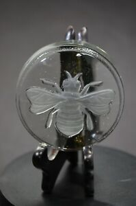 GOEBEL-Hummel-Glass-Paperweight-Etched-Bee-Vintage