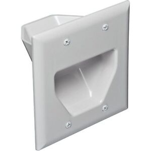 White Recessed Low Voltage Cable Plate with Recessed Power