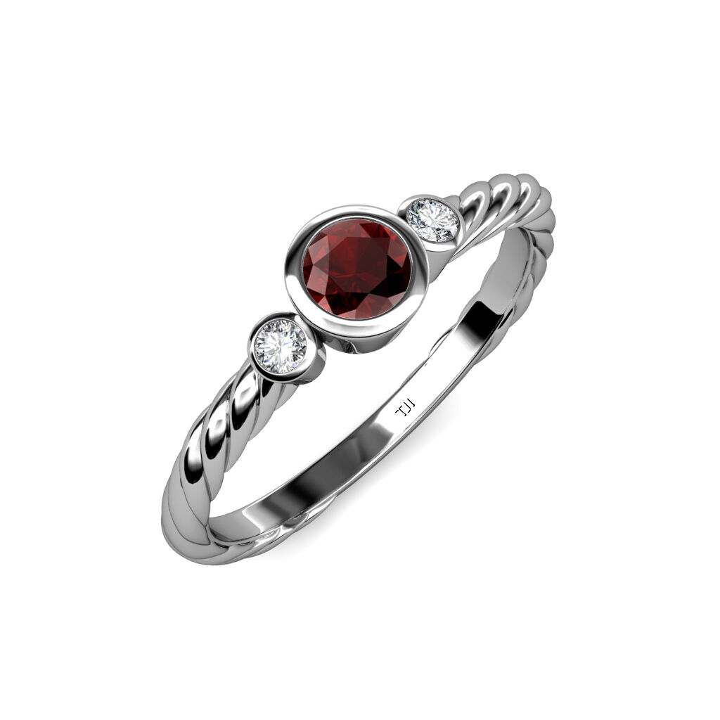 Red Garnet and Diamond Three Stone Rope Ring 0.76 ct tw in 14K gold JP 103726