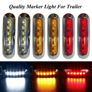 2PCS-Waterproof-6-LED-Chrome-Side-Marker-Indicator-Lights-Truck-Trailer-Van-12V