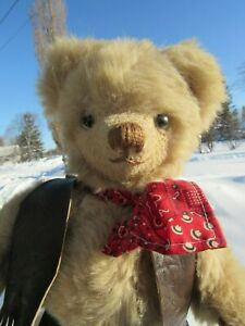 VINTAGE-TEDDY-BEAR-MERRYTHOUGHT-ENGLAND-14-034-COWBOY-VEST-CHAPS-RED-WEBBED-CLAWS