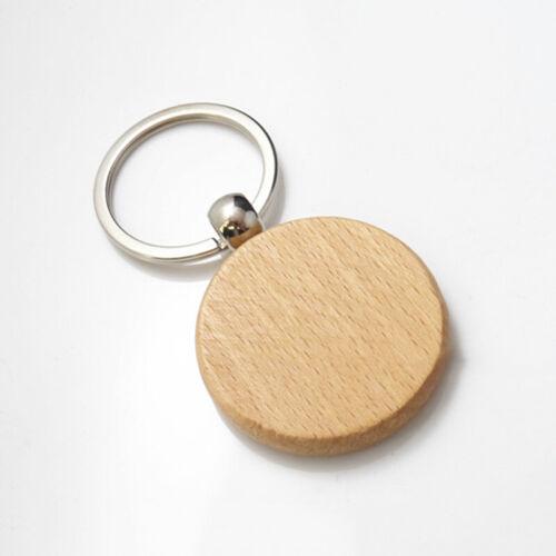 5Pcs Blank Wooden Key Chain Round Rectangle Keyring Key Ring Gift DIY Supplies