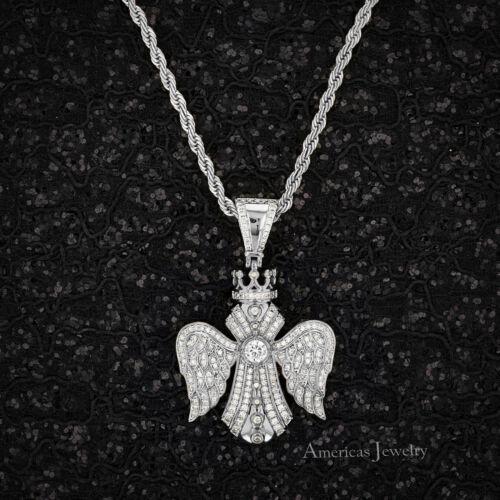 Men Lab Diamond 925 Sterling Silver Rhodium Finish King Cross Pendant 24/'/'Chain
