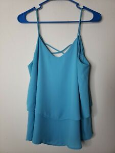 Annabella Women's Top Blouse Strappy Size Medium Blue Tiered Ruffle