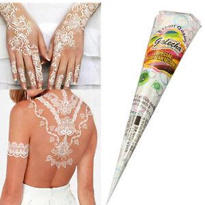 Tatuajes Henna El Salvador natural herbal henna cones temporary tattoo kit white body art paint