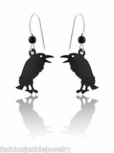 Details about Talking Raven Earrings - 925 Sterling Silver Ear Wires -  Squawking Birds NEW