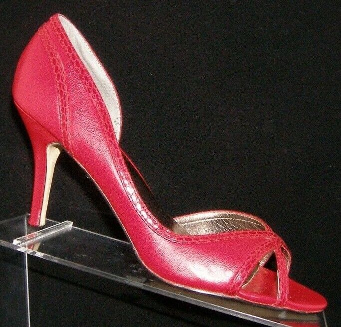 Steve Madden 'Deedrah' red leather peep toe slip on d'orsay heels 8M 6355
