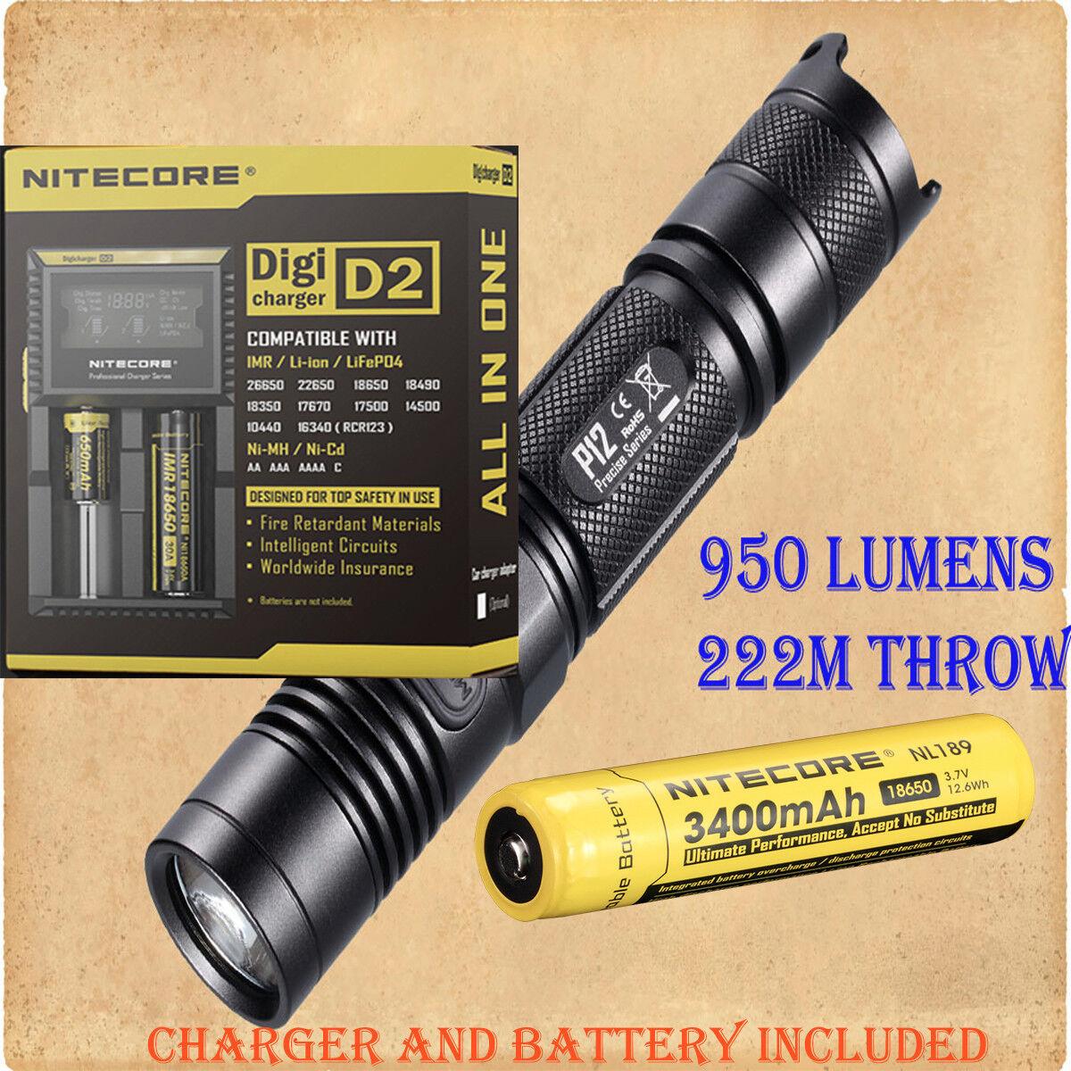 Nitecore P12 Cree XM-L2 LED Flashlight - w D2 Digicharger & NL189 3400mAh 18650