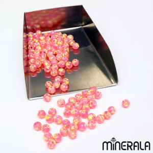WHOLESALE-CORAL-PINK-LAB-CREATED-OPAL-ROUND-FULL-DRILL-BEADS-VARIOUS-SIZE