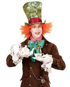 Men/'s Women/'s Mad Hatter Top Hat /& Orange Hair Wonderland Tea Party Fancy Dress