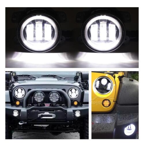 """For Jeep Wrangler JK 07-17 7/"""" DOT LED Headlight Smoke Turn Light Halo Fog Light"""