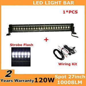 Wiring Kit 27inch 120W LED Light SPOT Flash Lamp Truck UTV 4WD Auto Fog Strobe