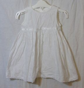 Baby-Girls-Mothercare-White-Floral-Embroidered-Sleeveless-Dress-Age-6-9-Months