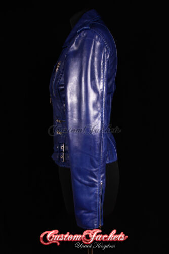 CATWALK LADIES LEATHER JACKET Blue Rock Star Biker Chic Leather Jacket 7113