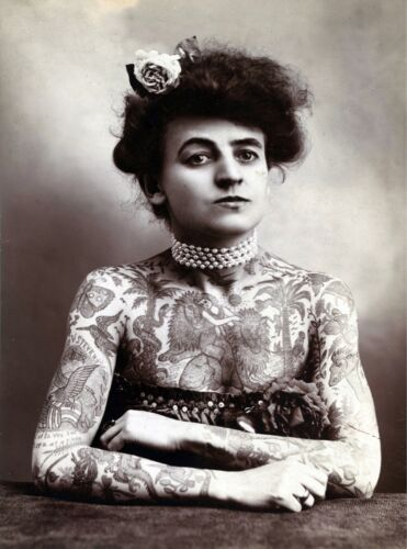 3401.Victorian B/&W Sepia Tattoo Lady POSTER.Home Room Science School Art decor