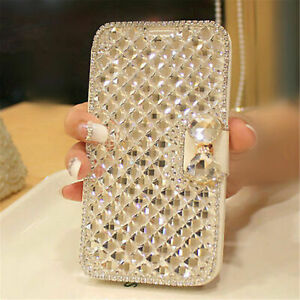 Bling-Glitter-Diamond-Bowknot-Flip-Leather-Case-Cover-For-Samsung-Galaxy-Phones
