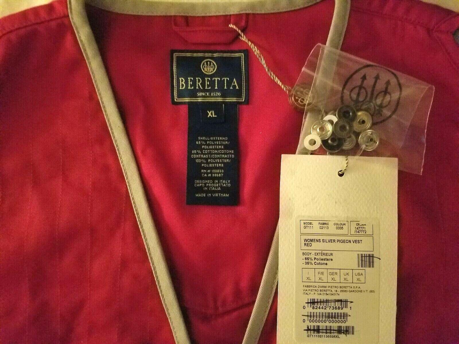 Free Ship Choose Size Beretta Women/'s Vest Silver Pigeon Vest Red GT111-0335