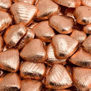 Rose Gold Foil Wrapped Belgian Milk Chocolate Hearts