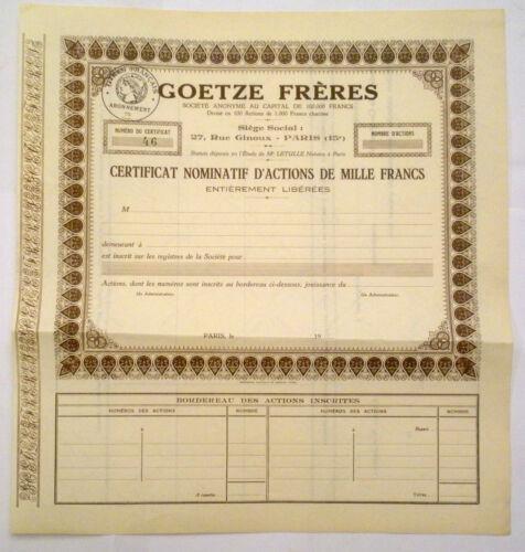 Certificat Nominatif d'Actions de 1000 F Goetze Frères