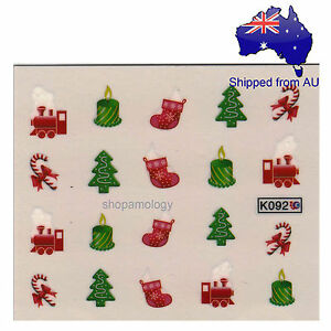 Christmas Candle Stocking Train Nail Art Water Transfer Decal Ebay