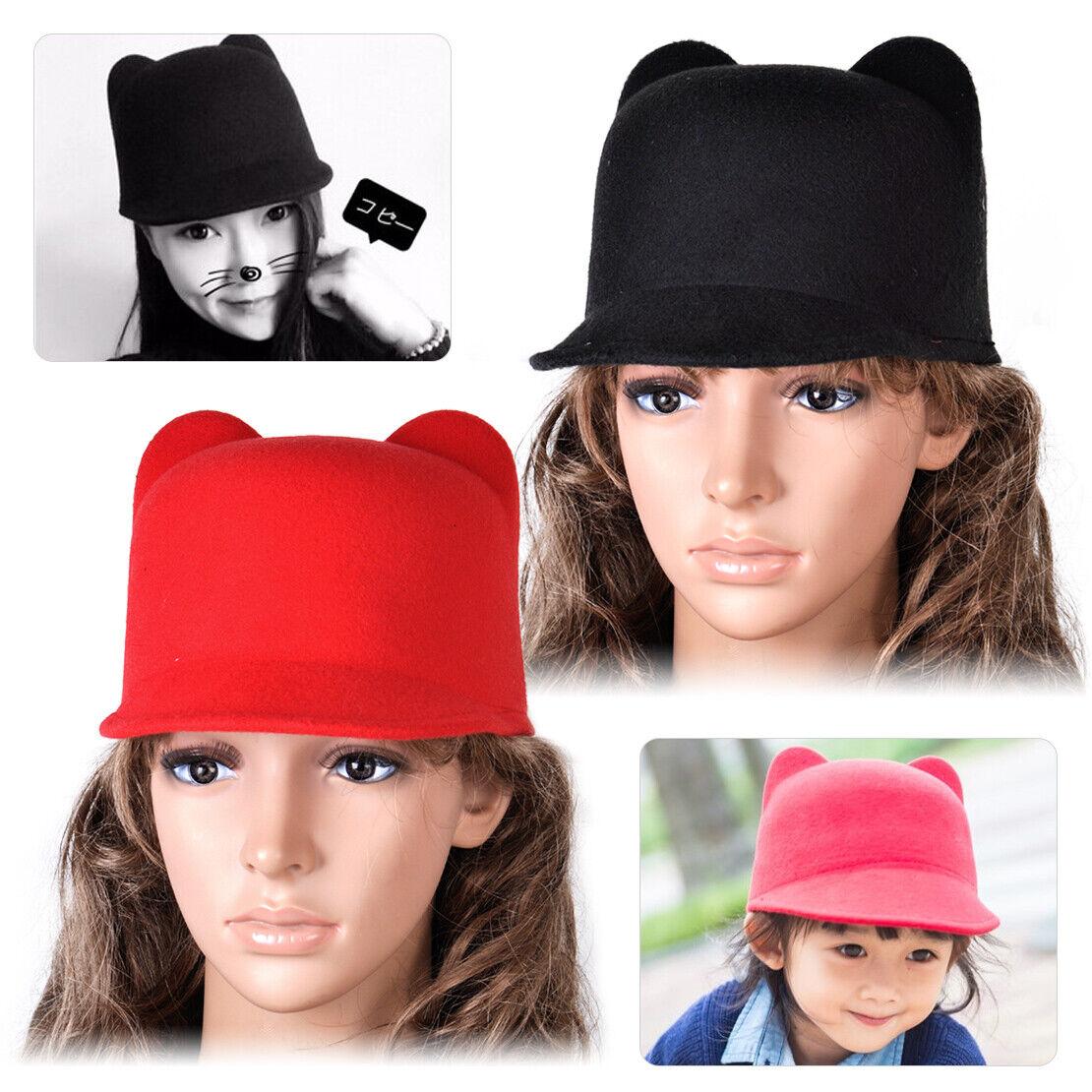Fashion Girl Kinder Niedliche Katze Ohren Bowler Cap Derby Teufelshörner Hüte