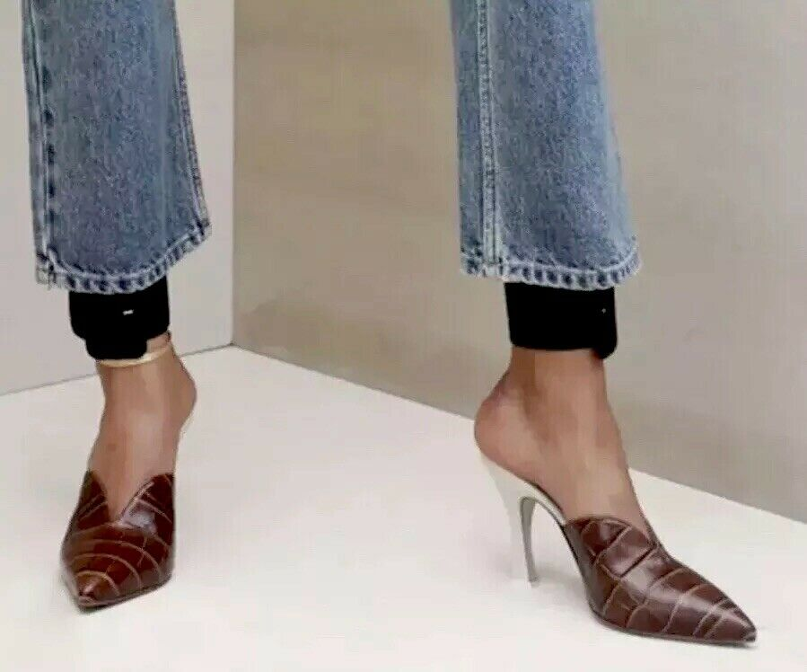 SOLD-OUTTT        995.00 Attico Croc-Embossed Leather Mules 36 NEW