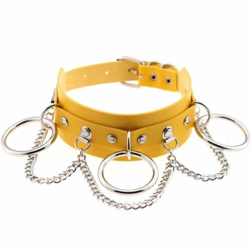 Women Choker Faux Leather New Metal O Ring Link Chain Punk Style Pin Buckle Type