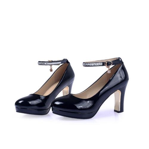 Bankett Pumps Damenschuhe High Heels Riemchen Schuhe Synthetik Lackleder Gr33-43