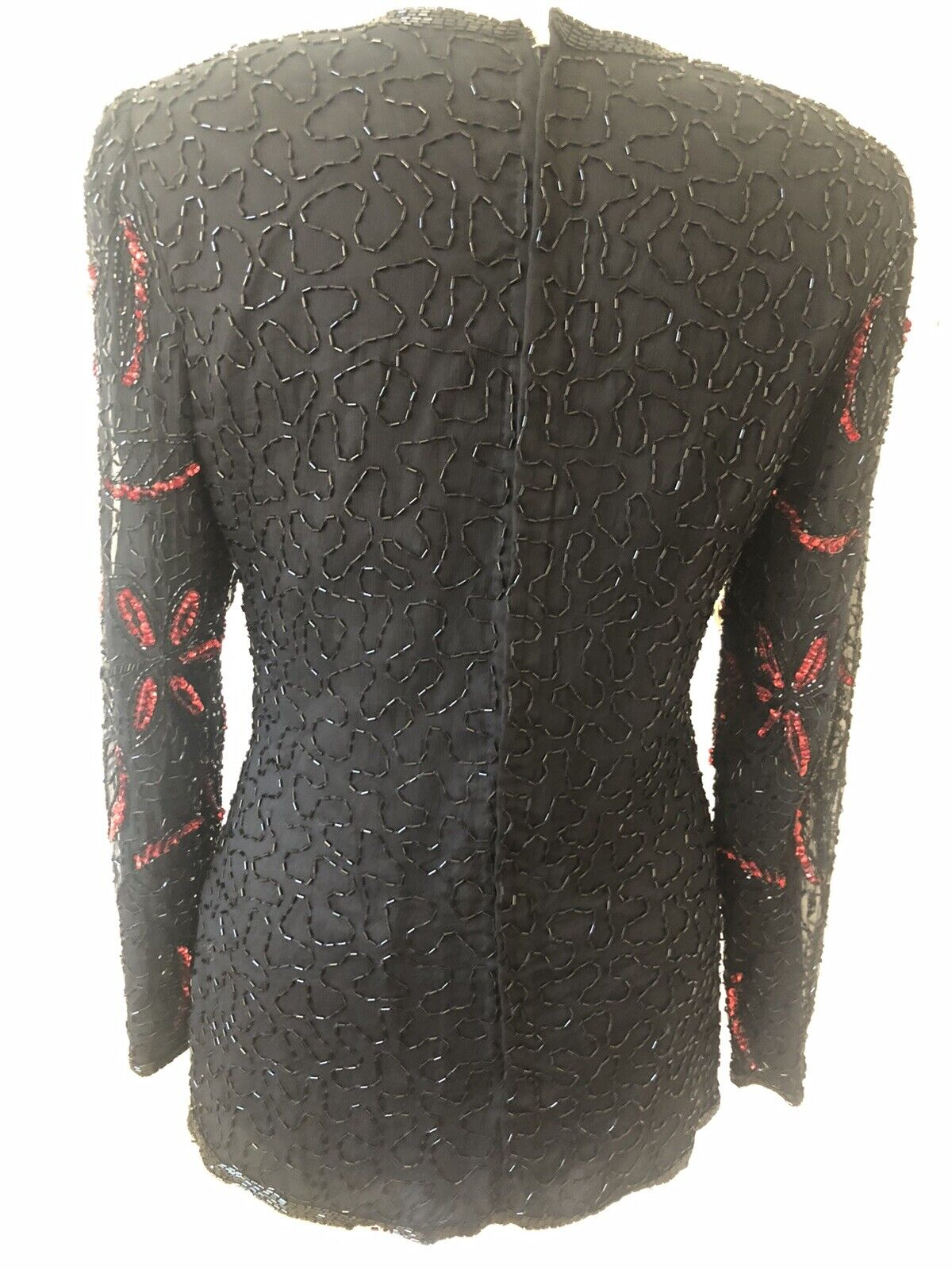 'After six' Size 12 Black & Red beaded Long Sleeved Vintage Top