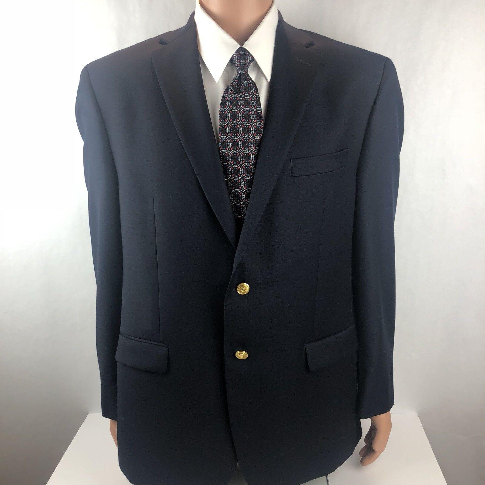 LAUREN Ralph Lauren  Herren Navy 100% Wool Sport Coat Gold Buttons Größe 42R