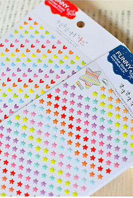 1 x colourful STAR HEART shaped lovely stickers scrapbook red birthday card DIY