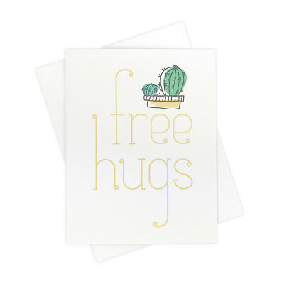 Free Hugs Cactus Funny Happy Snail Mail Keep in Touch Card for All Occasions
