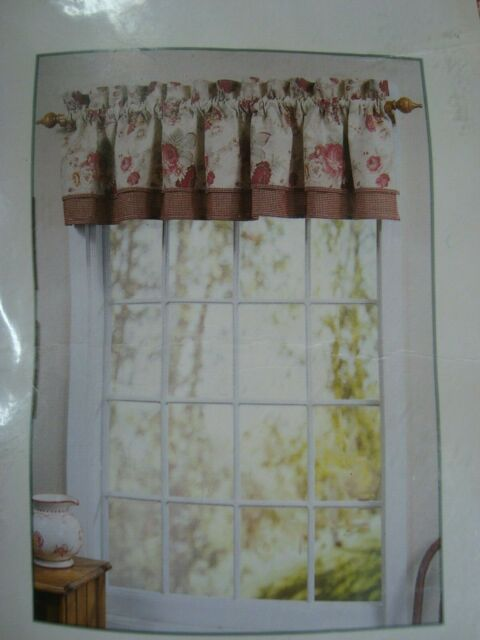 Waverly Garden Room Vintage Rose Tailored Double Valance 72 X 18