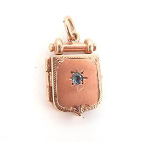 Stunning-9ct-Rose-Gold-Fob-Locket-Pendant-with-Sparkling-Topaz-8-28g