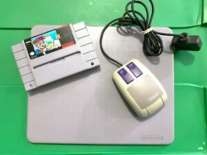 Mario Paint Super Nintendo SNES Mouse Controller, Pad & Game Set