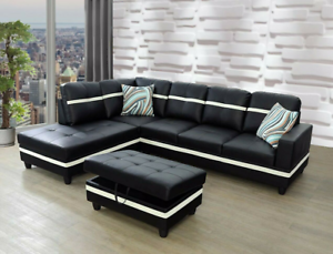 *SALE* Unique Black Sectional w/ Storage Ottoman Faux Leather & 2 Accent Pillows