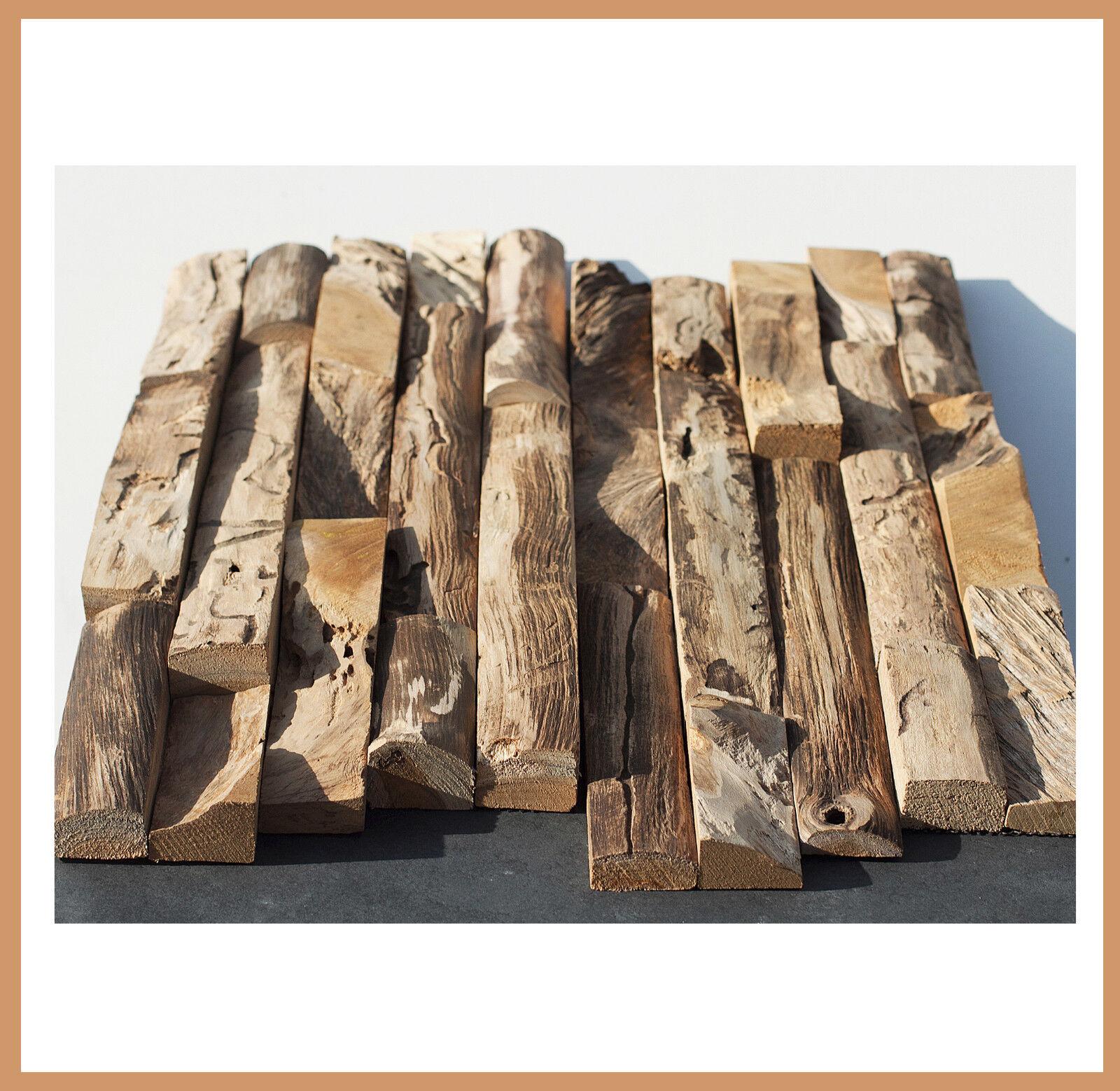 1 qm - HO-008 - Teak Holz-Wand - Fliesen Lager Stein-mosaik Herne NRW -