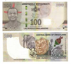 UNC-eSwatini-SWAZILAND-Tyvek-100-Emalangeni-2017-P-42-AA-Prefix