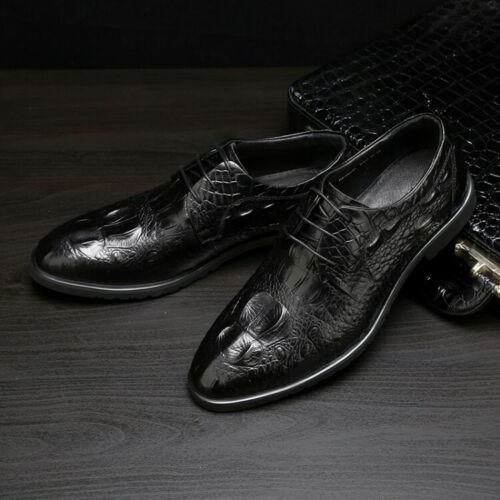 New Mens Lace Up Round Toe Leather Crocodile Pattern Business Casual Shoes size