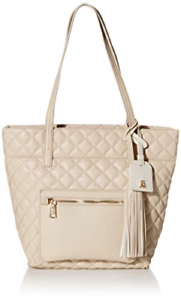 Steve Madden Quilted Tote, Cream - FREE SHIPPING