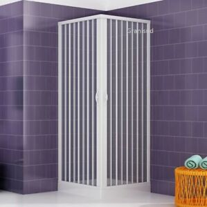 Mampara ducha en pvc con abertura angular con dos puertas plegables 70x70 80x80 ebay - Mamparas de pvc ...