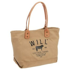 Details about NWT Will Leather Good Tote bag 24 oz Leather Straps  heavy-duty canvas Khaki $95