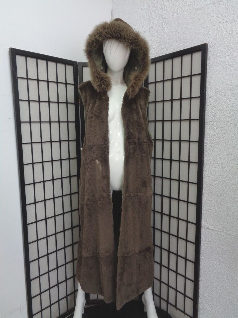 MINT GREEN SHEARED RABBIT & FOX FUR VEST LINING WOMEN WOMAN SZ 8-10 medium