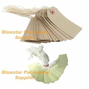 Quality-Pre-Strung-Price-Tags-Labels-Brown-or-White-Various-Sizes