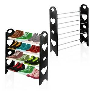 4 Tier Shoe Rack Storage Stand Organiser Cabinet Shelf 12 Pairs Shoes Stackable Ebay