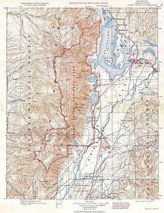 MAP-ANTIQUE-1929-USGS-GRAND-TETON-QUADRANGLE-WYOMING-REPRO-POSTER-PRINT-PAM2032